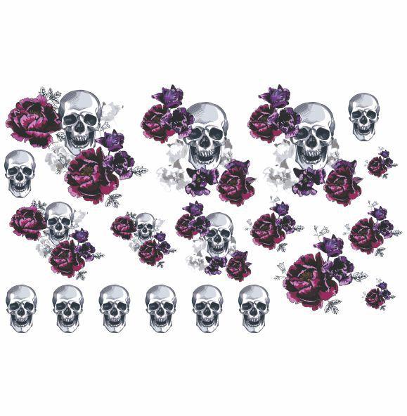 Decalque para Porcelana - Caveira com Flores