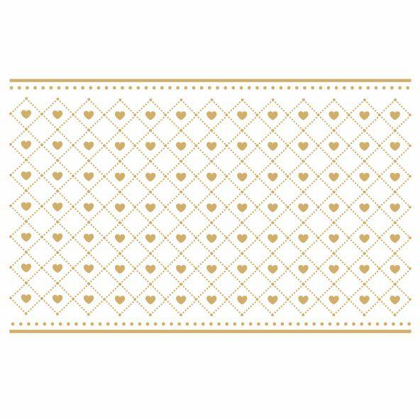 Decalque para Porcelana - Coração Mini com Borda Ouro