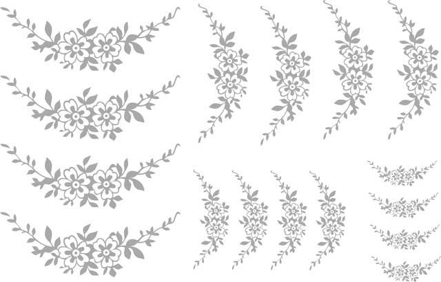 Decalque para Porcelana -Arabesco Florzinhas Prata