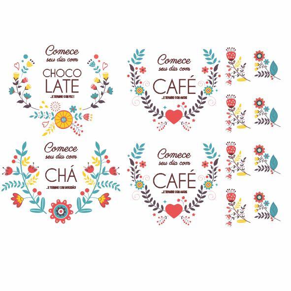 Decalque para Porcelana -  Café/Chocolate/Chá Colors