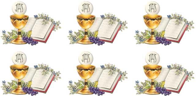 Decalque para Porcelana - Eucaristia Uvas-Cálice e Bíblia