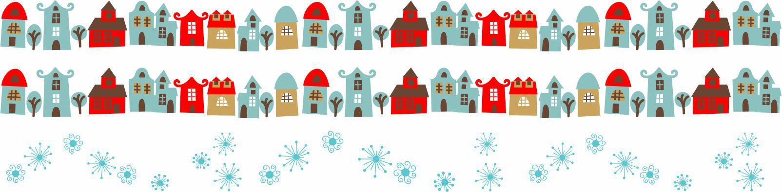 Decalque para Porcelana - Faixa de Natal -  Papai Noel Casinha
