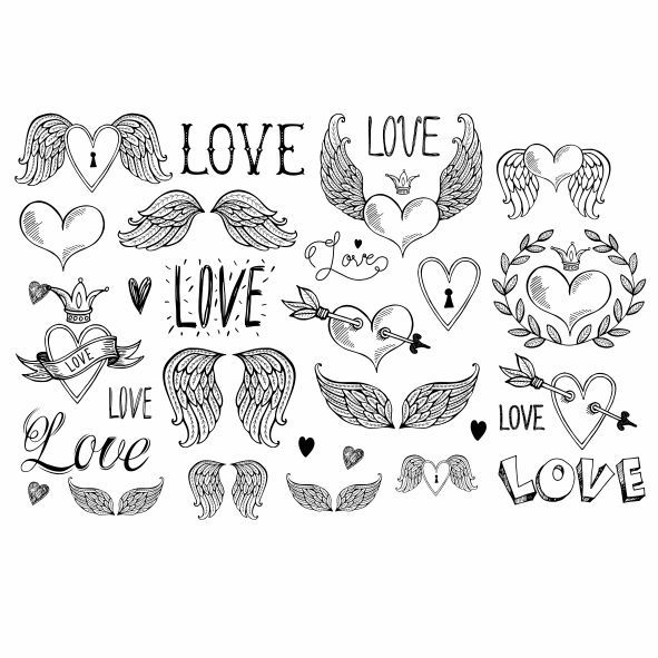 Decalque para Porcelana - Love -Asas- Anjo Preto