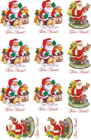 Decalque para Porcelana - Papai Noel Ursinho e Lista