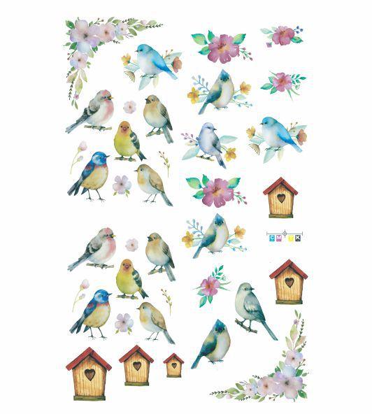 Decalque para Porcelana - Pássaros Aquarela