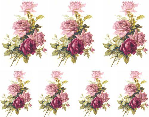 Decalque para Porcelana  - Rosa Buquê e Rosa Púrpura 10,5cm e 9cm
