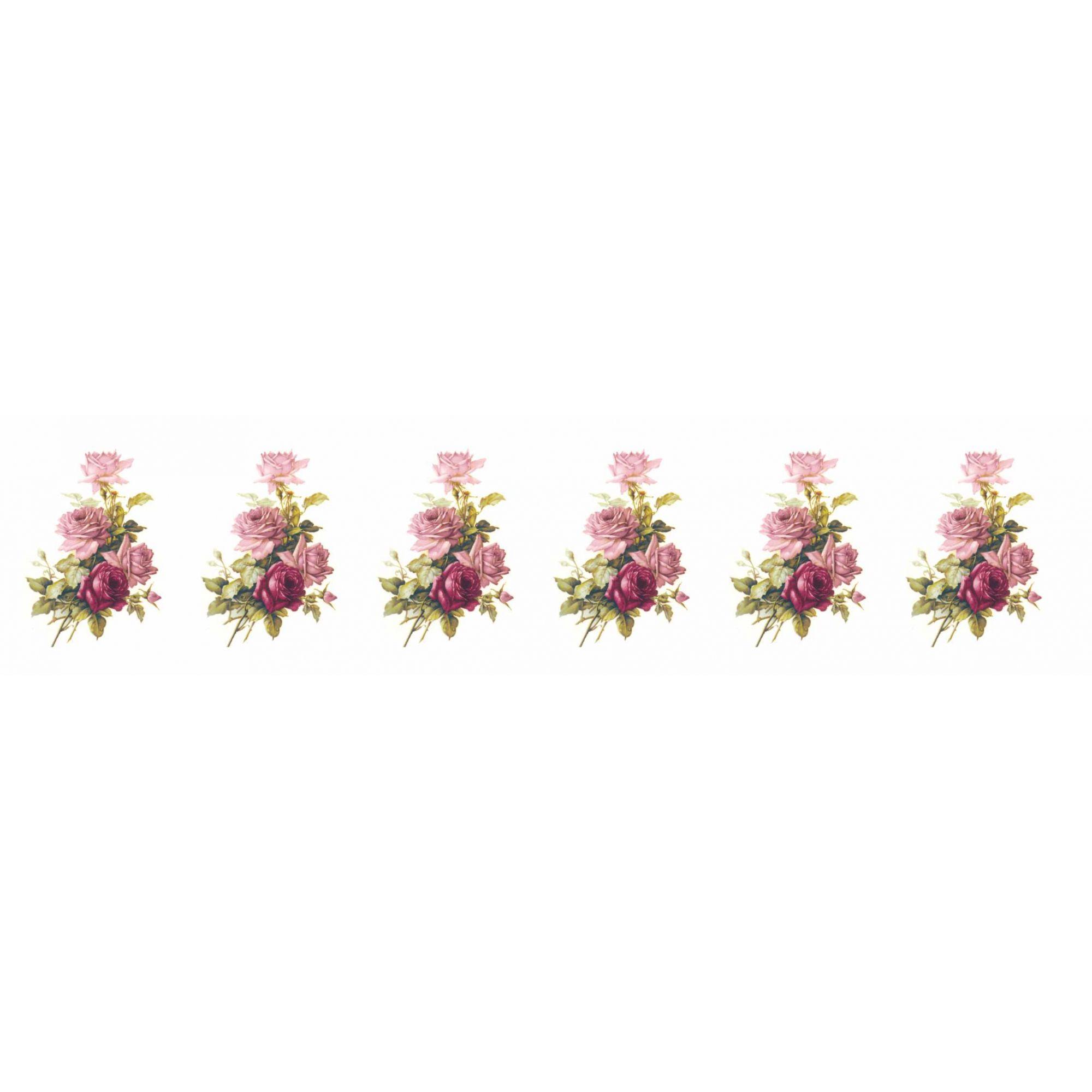 Decalque para Porcelana - Rosa Buque e Rosa Púrpura 3,5cm