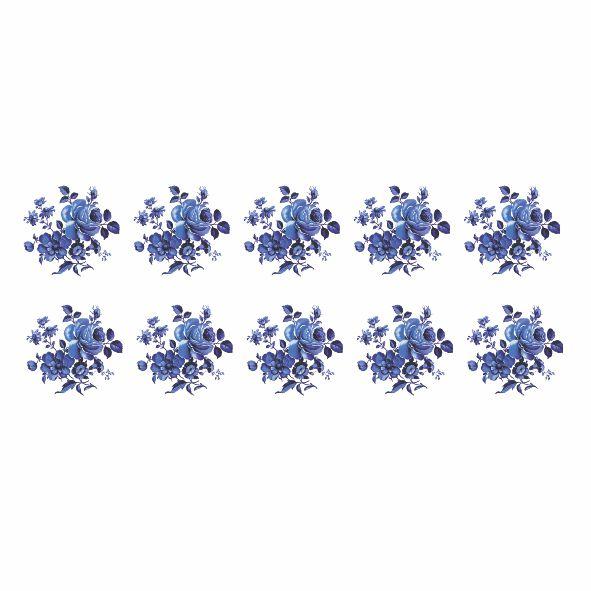 Decalque para Porcelana - Rosas Azuis 3,5cm