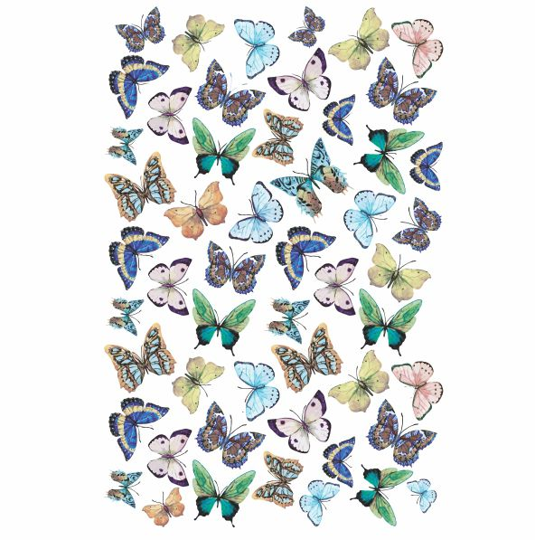 Decalque para Porcelana - Tapete Borboletas Primavera