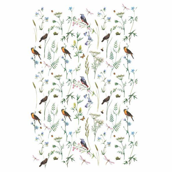 Decalque para Porcelana - Tapete Folhagens com Pássaros