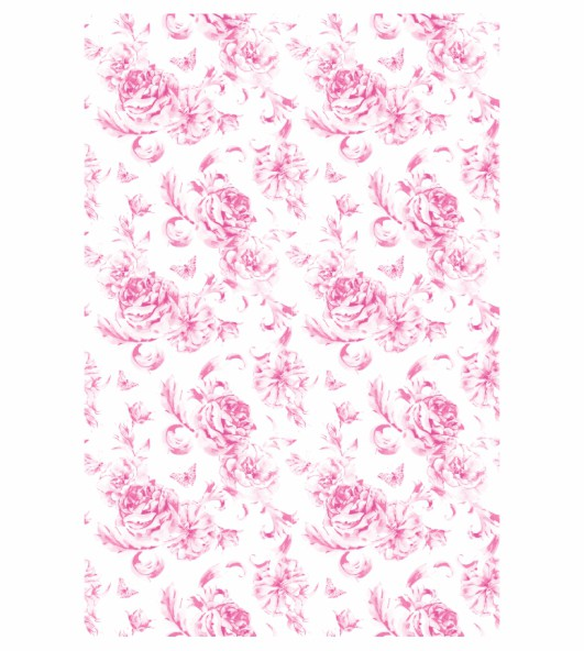 Decalque para Porcelana - Tapete Roses - Rosa