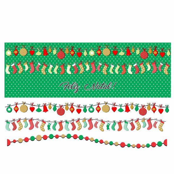 Decalque para Porcelana - Faixa de Natal - Bolas e Meias