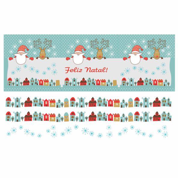 Decalque para Porcelana - Faixa de Natal -  Papai Noel Cidade