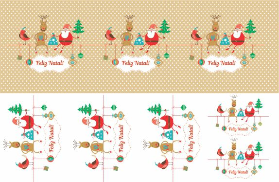 Decalque para Porcelana - Faixa Natal -  Papai Noel e Rena