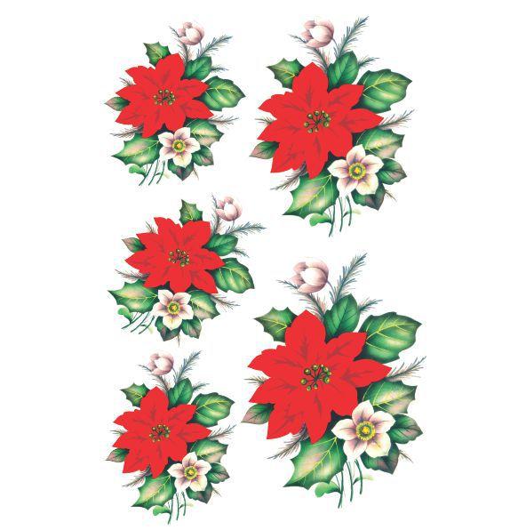 Decalque para Porcelana - Flor de Natal 11, 14 e 16,5cm