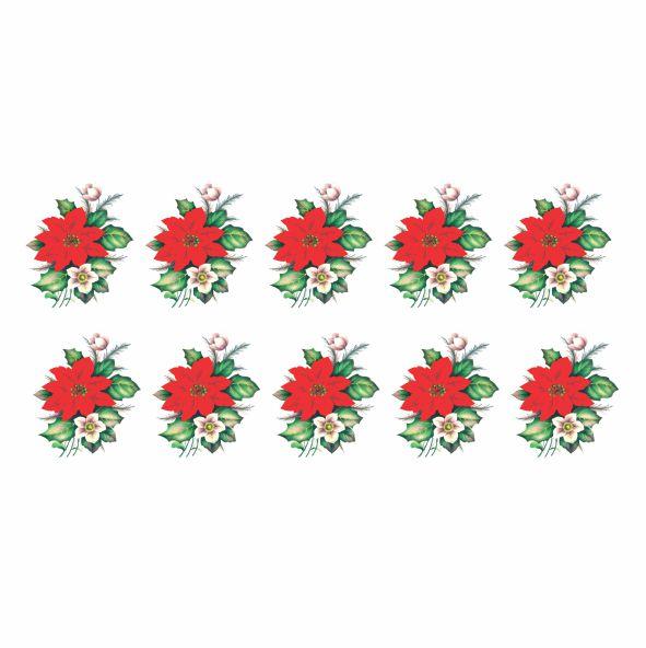 Decalque para Porcelana - Flor de Natal 4,5cm