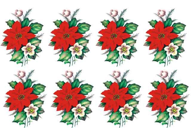 Decalque para Porcelana - Flor de Natal 5,8cm