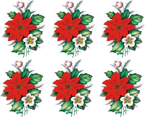 Decalque para Porcelana - Flor Natal 8cm