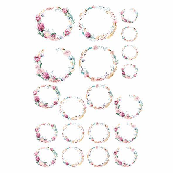 Decalque para Porcelana - Floral Borda Iniciais