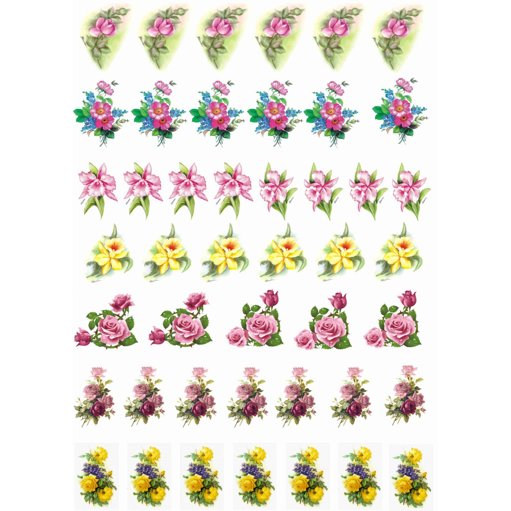 Decalque para Porcelana - Flores Pintura 3,5cm