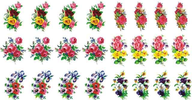Decalque para Porcelana - Flores Sortidas 3,5cm