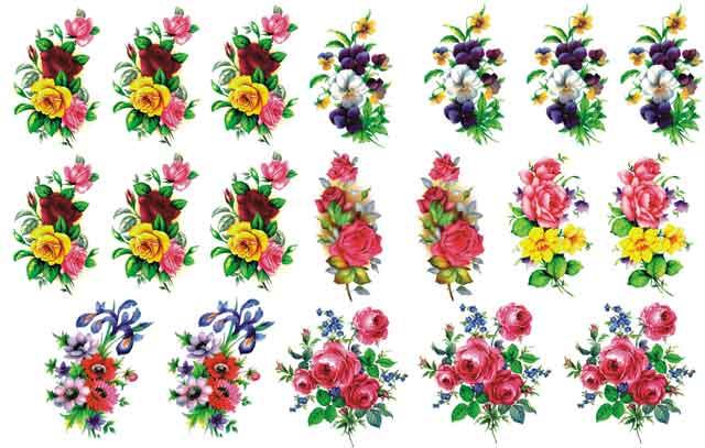 Decalque para Porcelana - Flores Sortidas 5cm