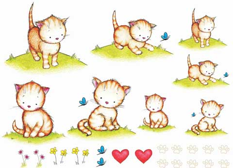 Decalque para Porcelana - Gatinhos Fofinhos
