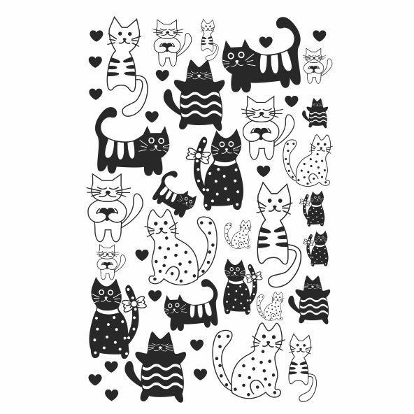 Decalque para Porcelana - Gato P e B