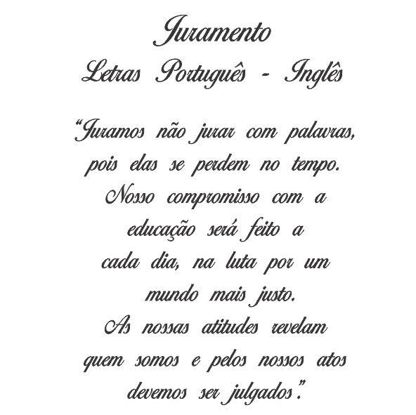 Decalque para Porcelana - Juramento Letras Português -Inglês