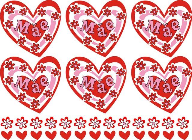 Decalque para Porcelana - Mãe Coração e Flores