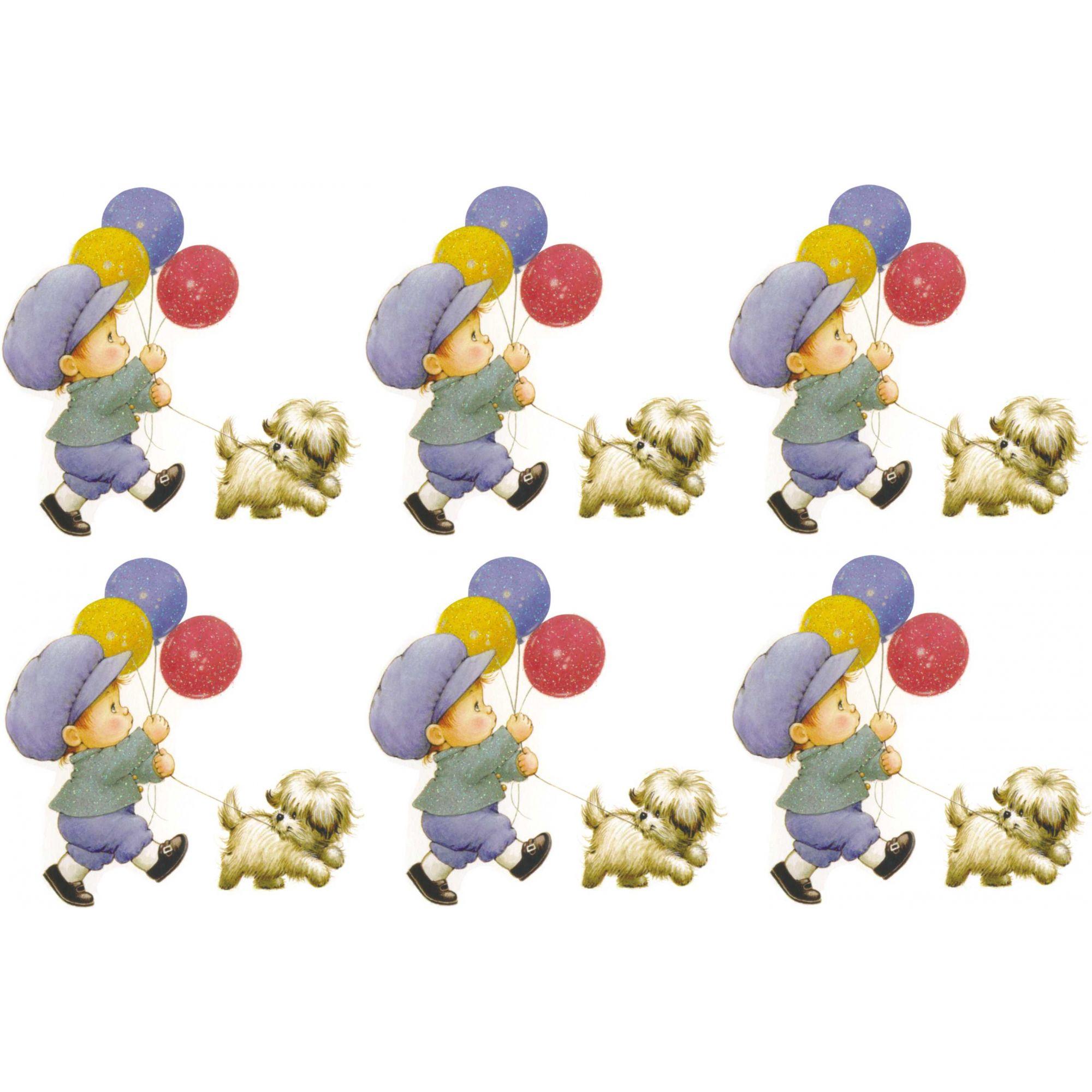 Decalque para Porcelana - Meninos Balão