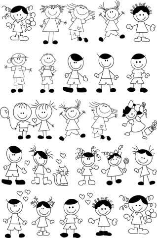 Decalque para Porcelana - Meninos e Meninas Felizes - Preto