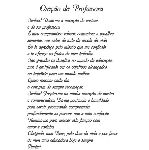 Decalque para Porcelana - Oração da Professora