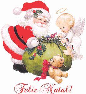 Decalque para Porcelana - Papai Noel com Anjinhos