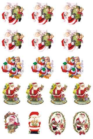 Decalque para Porcelana - Papai Noel e Fofinhos 5cm