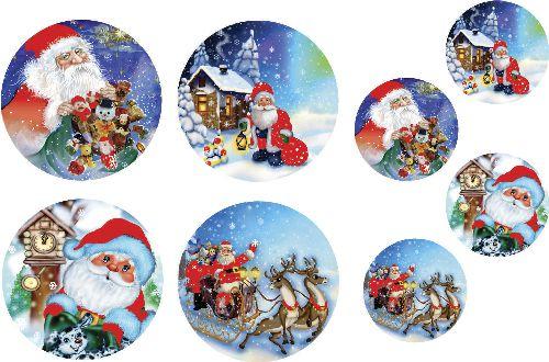 Decalque para Porcelana - Papai Noel Neve - com fundo