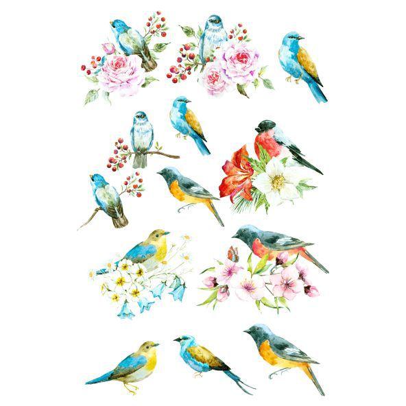 Decalque para Porcelana - Pássaros com Flores