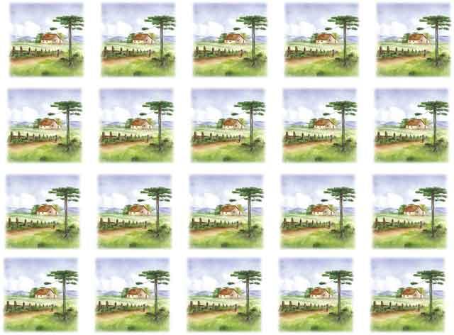 Decalque para Porcelana -Pinheiro Paisagem Casa 3,5 cm