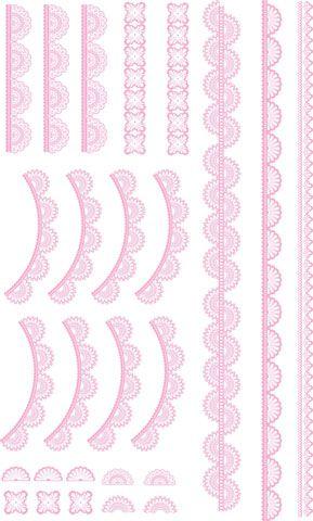 Decalque para Porcelana - Rendas 1 - Rosa Claro