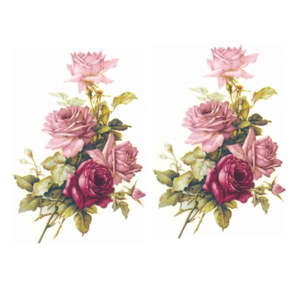Decalque para Porcelana - Rosa Buquê e Rosa Púrpura 13cm