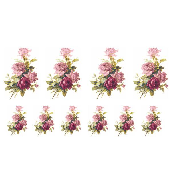 Decalque para Porcelana - Rosa Buquê e Rosa Púrpura 6 e 3,5cm