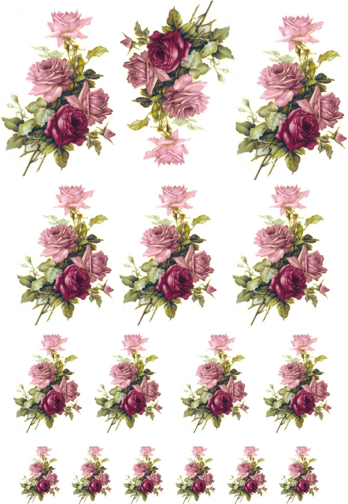 Decalque para Porcelana - Rosa Buquê e Rosa Púrpura