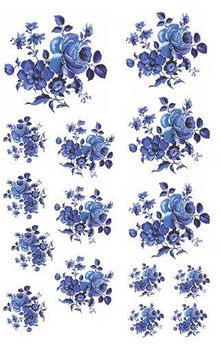 Decalque para Porcelana - Rosas Azuis