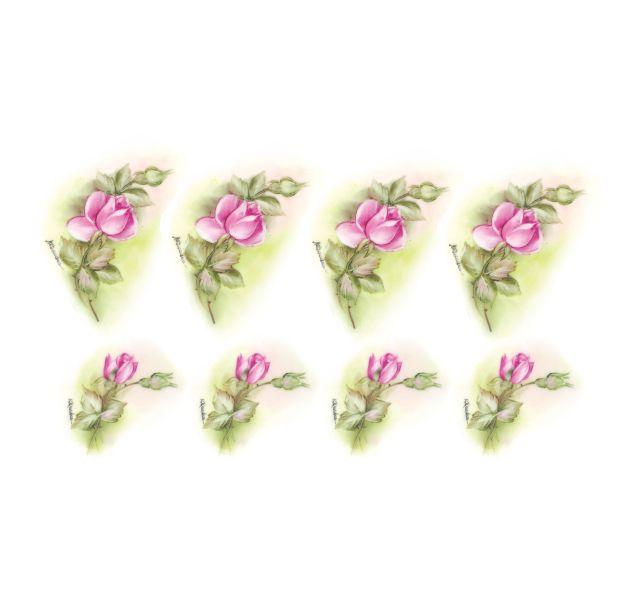 Decalque para Porcelana - Rosas Botão 7 e 5cm