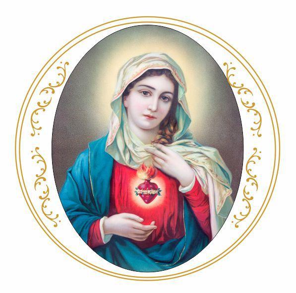 Decalque para Porcelana - Sagrado Coração de Maria 15cm - Arabesco em Ouro