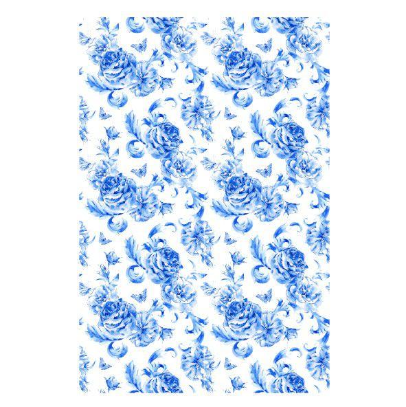 Decalque para Porcelana - Tapete Blue Roses