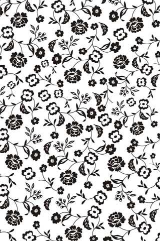 Decalque para Porcelana - Tapete Flores Preto/Branco