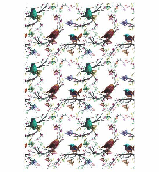 Decalque para Porcelana - Tapete Pássaros