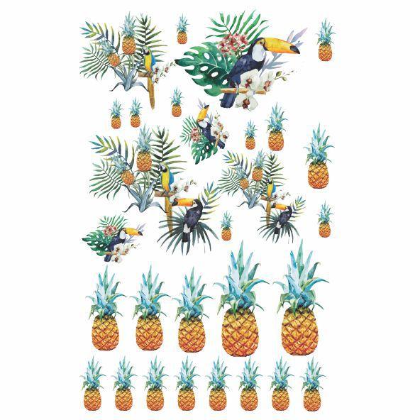 Decalque para Porcelana - Tapete Tropical com Tucano e Abacaxi