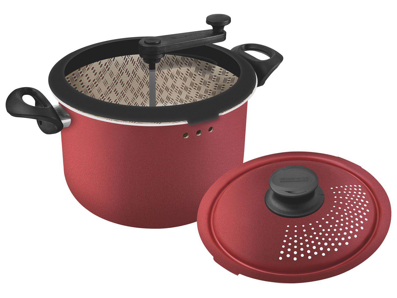 Pipoqueira e Espagueteira Panela 3 em 1 Alumínio Antiaderente Tramontina Paris Vermelha 20598/710 3 Peças